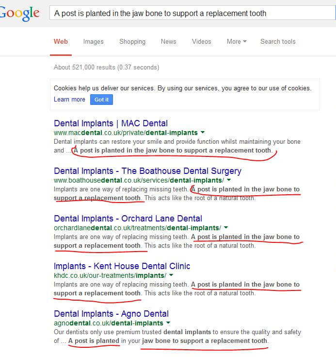 google results with duplicate content