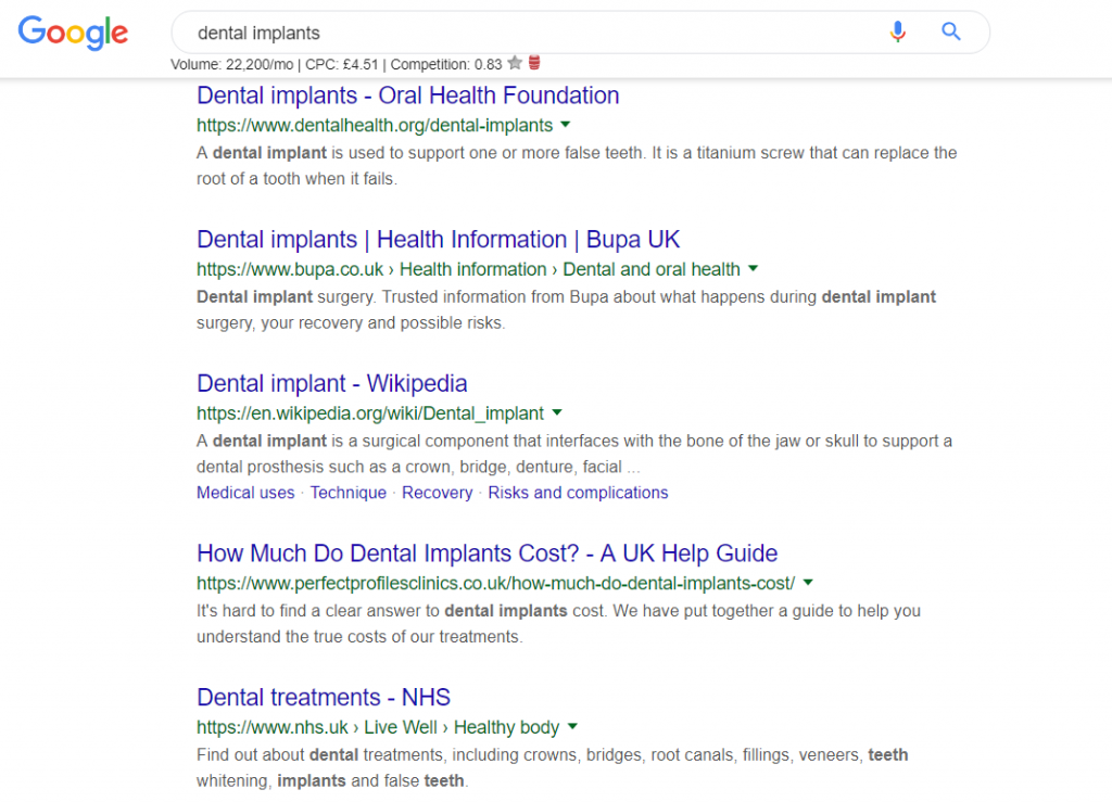 dental website meta information
